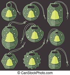 apartamento, jogo, árvore, natal, etiquetas