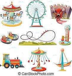 apartamento, jogo, ícones, atrações, parque, divertimento