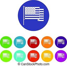 apartamento, jogo, ícones, bandeira americana, vetorial