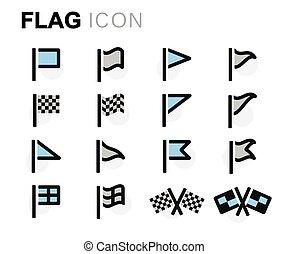 apartamento, jogo, ícones, bandeira, vetorial, linha