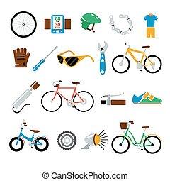 apartamento, jogo, ícones, bicicleta, bicicleta, vetorial
