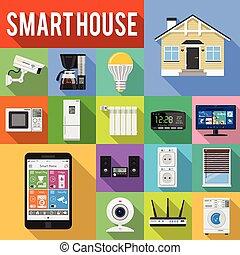 apartamento, jogo, ícones, casa, internet, coisas, esperto