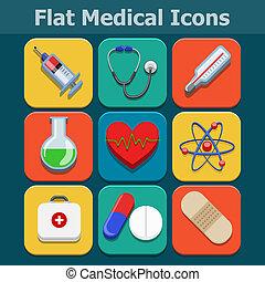 apartamento, jogo, ícones, cor, médico, vetorial