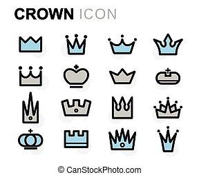 apartamento, jogo, ícones, coroa, vetorial, linha