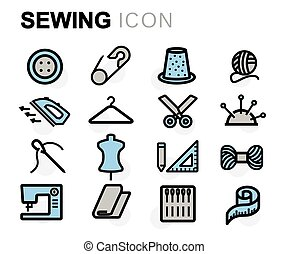 apartamento, jogo, ícones, cosendo, vetorial, linha