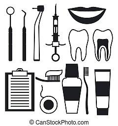 apartamento, jogo, ícones, dental, equipamento médico, style.