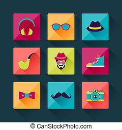 apartamento, jogo, ícones, desenho, hipster, style.