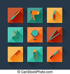 apartamento, jogo, ícones, desenho, style., hairdressing