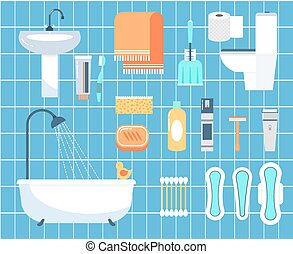 apartamento, jogo, ícones, higiene pessoal, vetorial