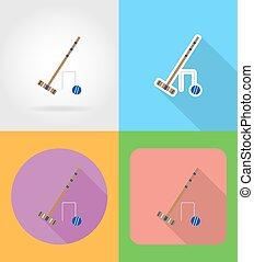 apartamento, jogo, ícones, ilustração, equipamento, vetorial, croquet