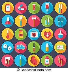 apartamento, jogo, ícones, ilustração médica, vetorial, desenho, fundo, concept.