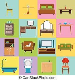 apartamento, jogo, ícones, ilustração, vetorial, desenho, mobília