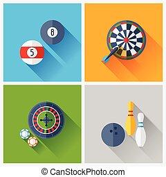 apartamento, jogo, ícones, jogo, desenho, style.