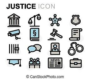 apartamento, jogo, ícones, justiça, vetorial, linha