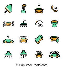 apartamento, jogo, ícones, lavagem carro, vetorial