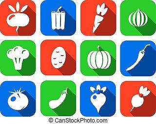 apartamento, jogo, ícones, legumes, isolado, ilustração, vetorial, fundo, branca