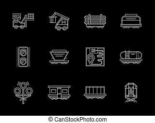apartamento, jogo, ícones, linha, vetorial, ferrovia, branca