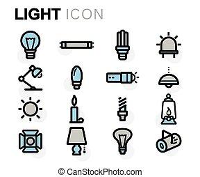 apartamento, jogo, ícones, luz, vetorial, linha