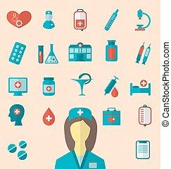 apartamento, jogo, ícones, médico, elementos, trendy, enfermeira