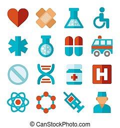 apartamento, jogo, ícones, médico, vetorial, style.