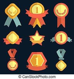 apartamento, jogo, ícones, recompensas, trendy, style., medalhas