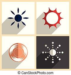 apartamento, jogo, ícones, sol, ilustração, vetorial, shadow.