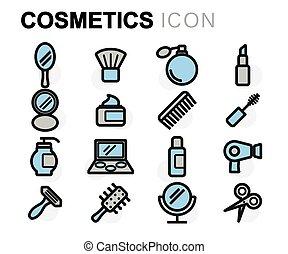 apartamento, jogo, ícones, vetorial, cosméticos, linha