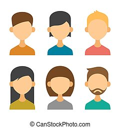 apartamento, jogo, ícones, vetorial, desenho, usuário, style., avatar