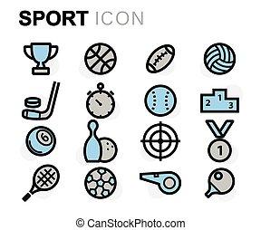 apartamento, jogo, ícones, vetorial, linha, desporto