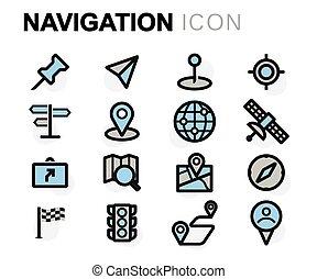 apartamento, jogo, ícones, vetorial, linha, navegação