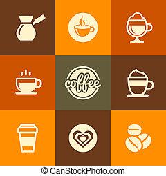 apartamento, jogo café, ícones, cor, vetorial, desenho, style.
