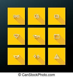 apartamento, jogo, car, vetorial, painel, ícone
