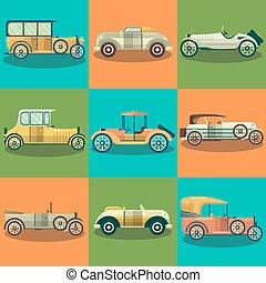 apartamento, jogo, carros, automóveis, vetorial, retro, cobrador