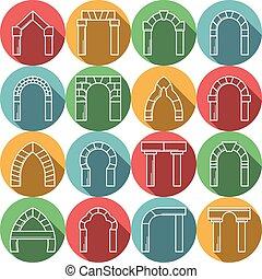 apartamento, jogo, colorido, ícones, archway, vetorial