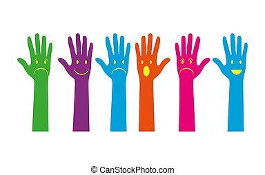 apartamento, jogo, colorido, mão, silhuetas, desenho, emocional, caras
