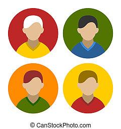 apartamento, jogo, coloridos, ícones, userpics, vetorial, homem negócios, style.