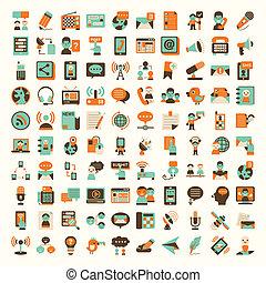 apartamento, jogo, comunicação, retro, ícones