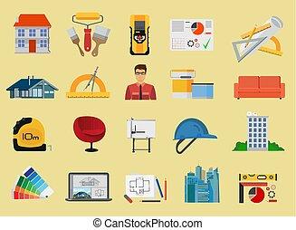 apartamento, jogo construção, arquitetura, ícones