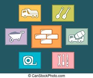 apartamento, jogo construção, desenho, ícones