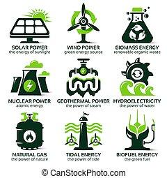 apartamento, jogo, eco, energia, fontes, alternativa, amigável, ícone