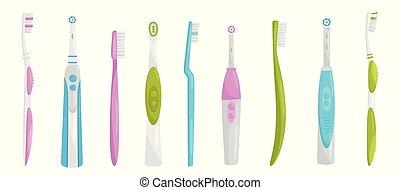 apartamento, jogo, elétrico, pessoal, itens, manual, higiene, tema, vetorial, saúde, toothbrushes., oral, teeth., limpeza