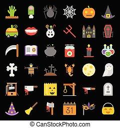 apartamento, jogo, elementos, dia das bruxas, vetorial, desenho, ícone