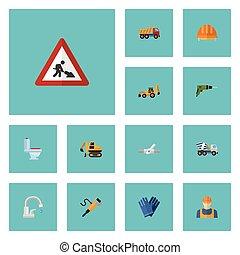 apartamento, jogo, elements., ícones, indústria, escavador, trabalhador, inclui, símbolos, também, cautela, vetorial, trabalhador, encanamento, objects., outro, crawler
