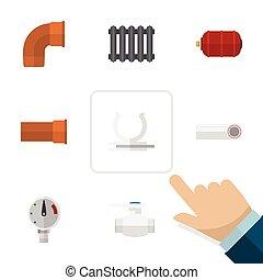 apartamento, jogo, elements., canalização, tanque, indústria, inclui, também, vetorial, ferro, dreno, objects., plástico, outro, aquecedor, ícone