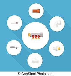 apartamento, jogo, elements., indústria, inclui, também, bomba, vetorial, flange, lançar, ferro, objects., controlador, outro, ícone, dreno