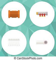 apartamento, jogo, elements., termostato, pipework, radiador, também, controlador, vetorial, cano, sanitário, objects., inclui, outro, aquecedor, ícone