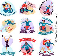 apartamento, jogo, emblema, pessoas, incapacitado, desporto