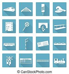 apartamento, jogo, eps10, ícones, trem, estrada ferro, branca