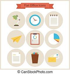 apartamento, jogo, escritório, ícones negócio