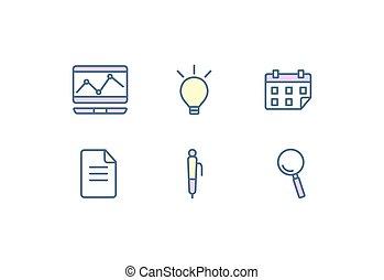 apartamento, jogo, finanças, ícones, communication., negócio, vetorial, desenho, teia, illustration.